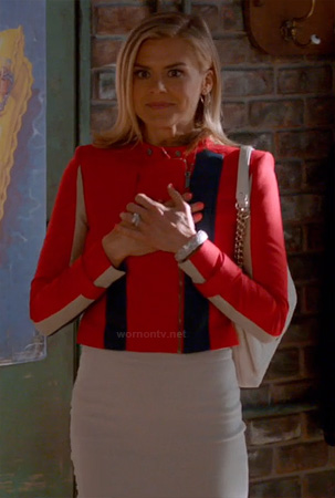 Jane's red colorblock jacket on Happy Endings