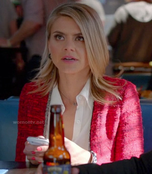 Jane's red tweed jacket on Happy Endings