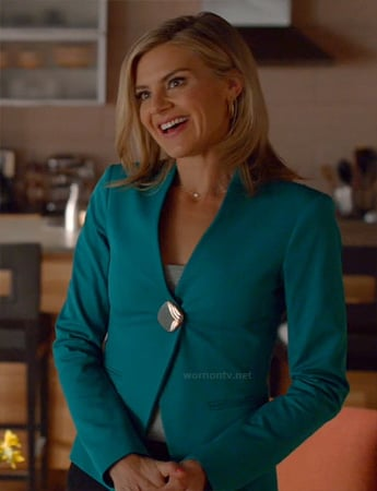Jane's teal blue blazer with statement button on Happy Endings