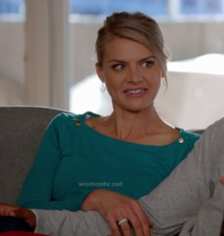 Jane's teal green gold button top on Happy Endings