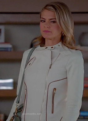 Jane's white asymmetrical jacket with contrast piping on Happy Endings