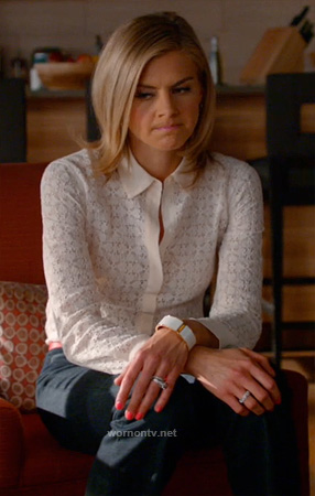 Jane's white lace shirt on Happy Endings