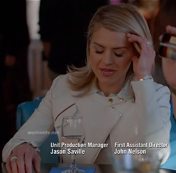 Jane's white moto style jacket on Happy Endings