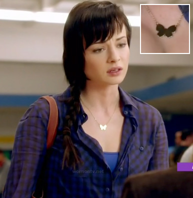 Jenna's blue gingham check shirt and butterfly necklace on Awkward