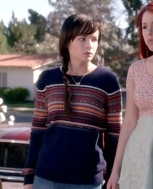 Jenna's navy fair isle sweater on Awkward