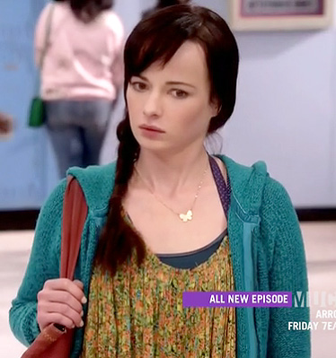 Jenna's green floral cami and teal knit hoodie on Awkward