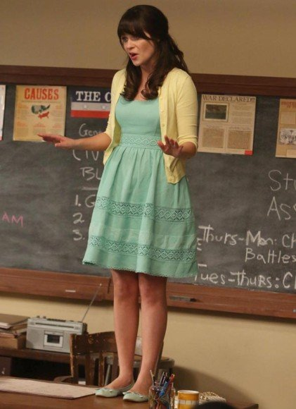 Jess's mint green dress with yellow cardigan on New Girl