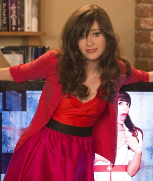Jess Day's pink and red dress on New Girl