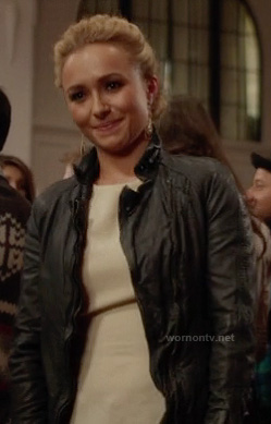 Juliette's black distressed leather jacket on Nashville