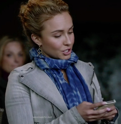 Juliette's grey denim moto jacket and blue tie-dye scarf on Nashville