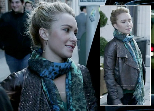 Juliette's leather jacket and blue/green ombre leopard print scarf on Nashville