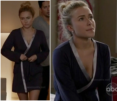 Haydens bathrobe with silver trim on Nashville