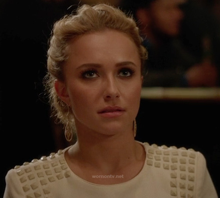 Juliette's white dress with studded shoulders on Nashville