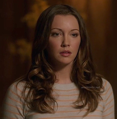 Laurel's orange striped sweater on Arrow