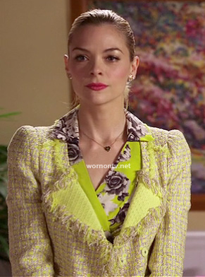 Lemon's fluro yellow rose print dress and tweed jacket on Hart of Dixie