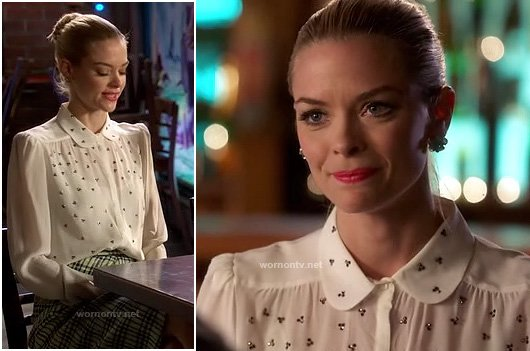 Tansy's sheer black long sleeved dress with green print on Hart of Dixie