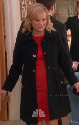 Leslie's black coat with gold closures on Parks and Recreation