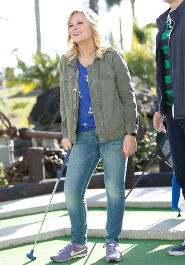 Leslie's blue anchor print sweater and army green jacket on Parks and Recreation