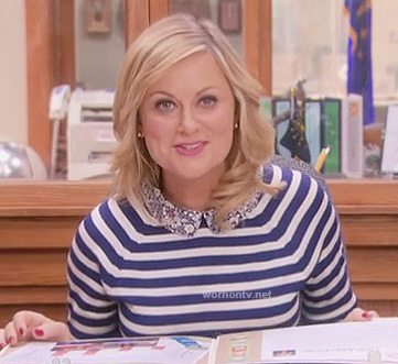 Leslie's blue striped top with floral collar on Parks and Recreation