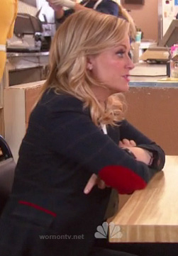 Leslie's navy checked blazer with red elbow patches on Parks & Recreation
