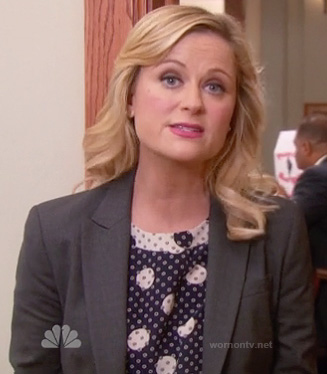 Leslie's navy polka dot top on Parks & Rec