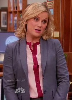 Leslie's pink and red contrast trim blouse on Parks and Recreation