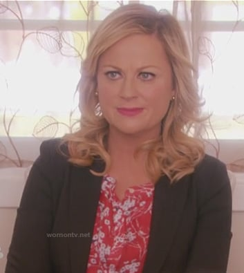 Leslie's red cherry blossom print blouse on Parks and Recreation