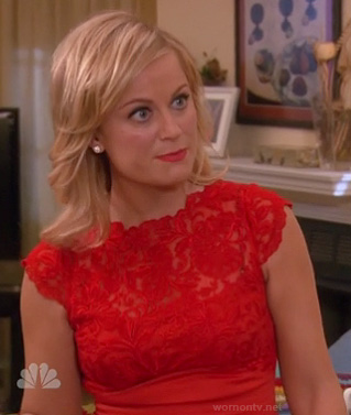 Leslie's red lace dress on Parks and Rec