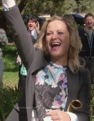 Leslie's floral black, purple and blue blouse on Parks & Recreation