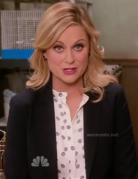 Leslie's white polka dot blouse on Parks and Recreation
