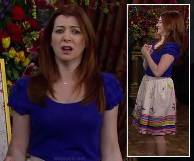 Lily's blue ruffle sleeve top and printed skirt on How I Met Your Mother