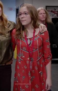 Maddie's red boho style dress on Nashville