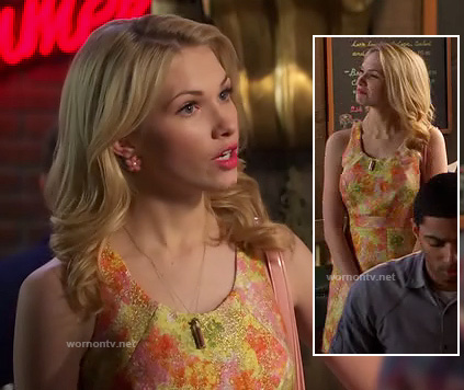 Magnolias orange pink and green dress on Hart of Dixie