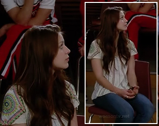 Marley's white striped tee with patterned sleeves on Glee