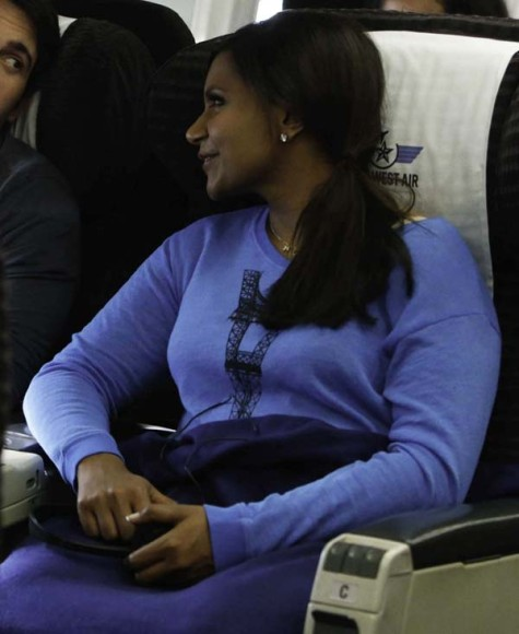 Mindy's blue upsidedown Eiffel Tower sweater on The Mindy Project