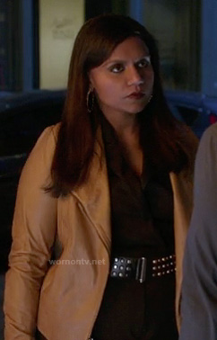 Mindy's cream leather jacket on The Mindy Project