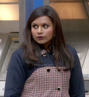 Mindy's navy and red patterned coat on The Mindy Project