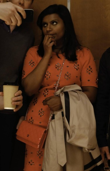 Mindy's orange gem stone embellished dress on The Mindy Project