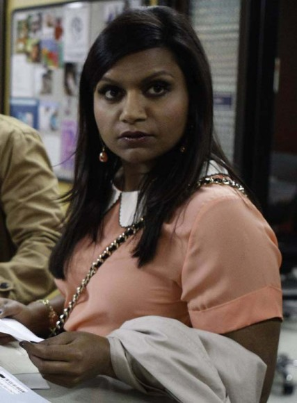 Mindy's peach top with white collar on The Mindy Project