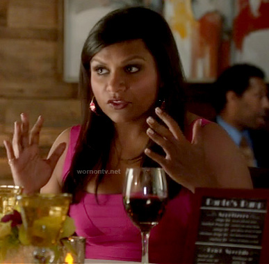 Mindy's pink bandage dress and hoop earrings on The Mindy Project