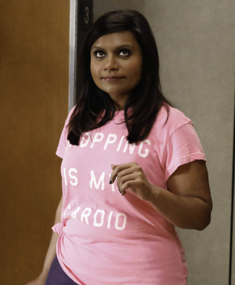 "Mindy's pink ""Shopping is my cardio"" tee on The Mindy Project"