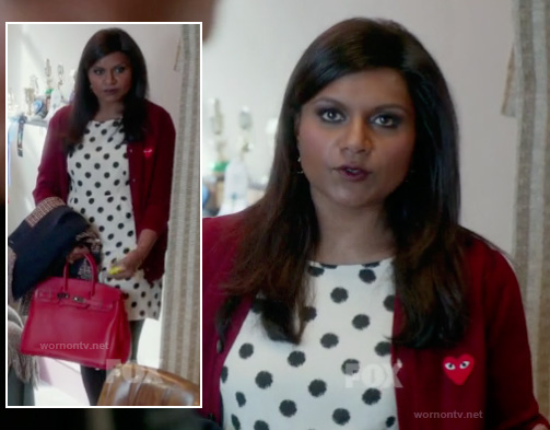 Mindy's red heart cardigan worn over polka dot dress on The Mindy Project
