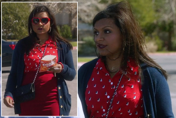 Mindy's red sail boat print shirt and heart sunglasses on The Mindy Project