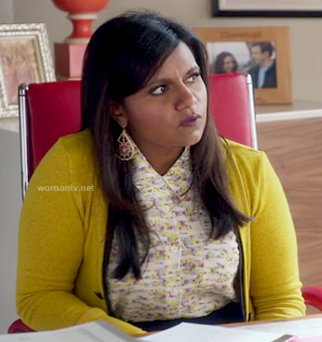 Mindy's yellow and black cardigan on The Mindy Project