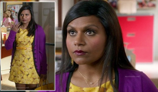 Mindy's yellow lemon print dress on The Mindy Project