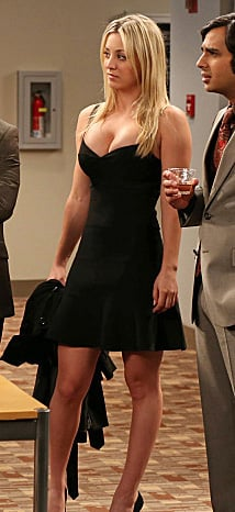 Penny's black flared bandage dress on The Big Bang Theory