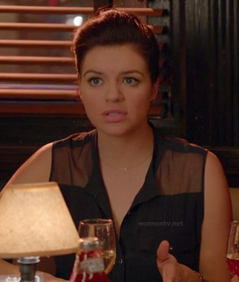 Penny's sheer black top on Happy Endings