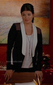 Penny's black, white and brown colorblock blazer on Happy Endings