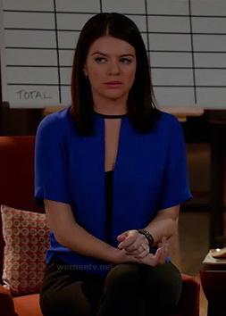 Penny's cobalt blue keyhole blouse on Happy Endings