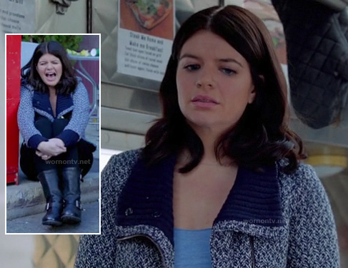 Penny's blue jacket with ribbed shawl collar and black boots on Happy Endings